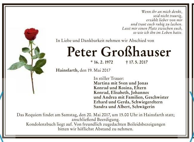 trauer um peter großhauser - freiwillige feuerwehr hainsfarth, Einladung